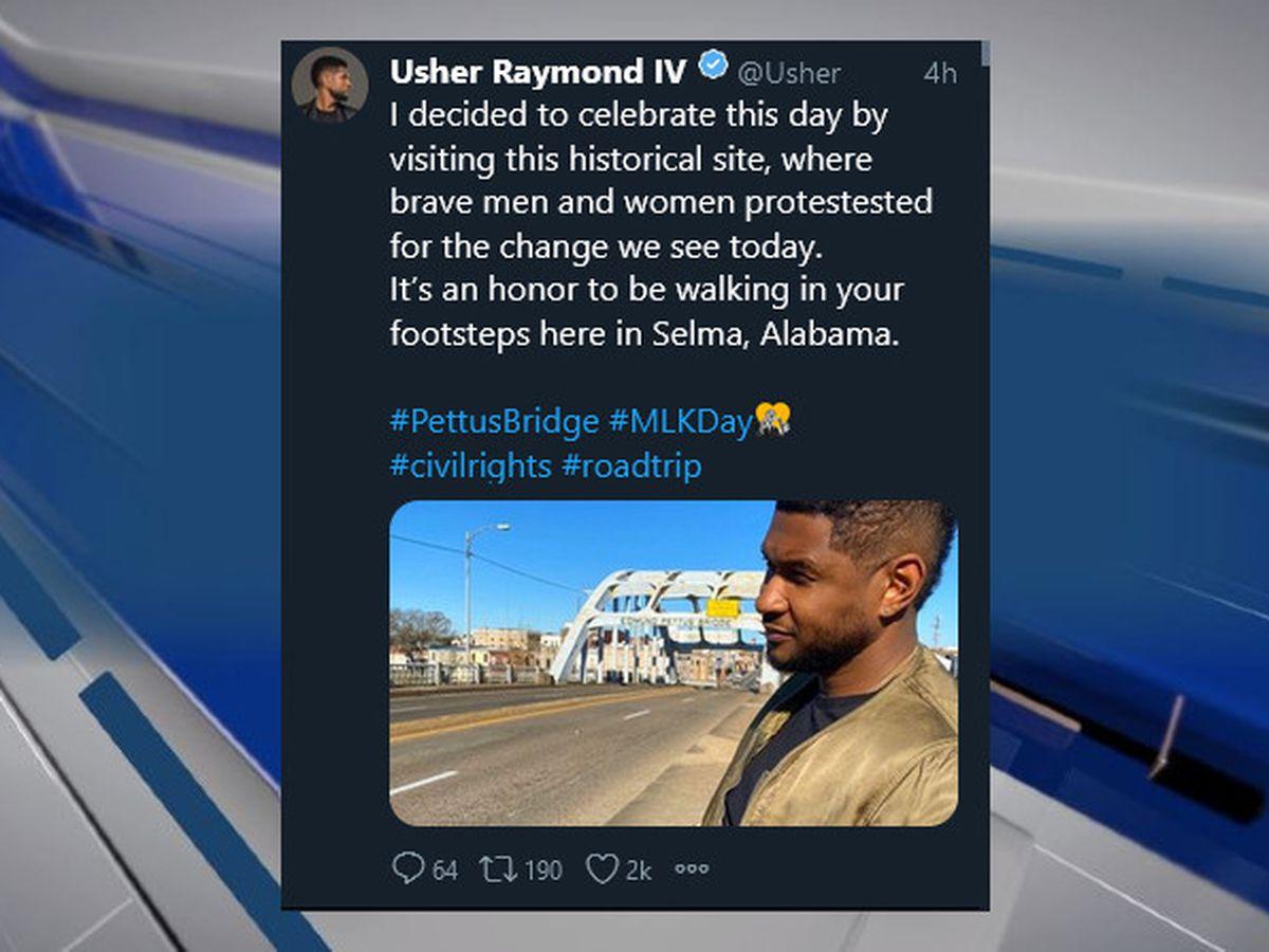 Singer Usher visits Selma to mark MLK Day