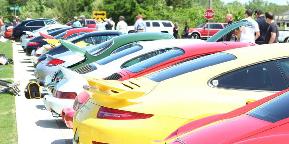 Porsche collections on display during Trissl Sports Cars charity event