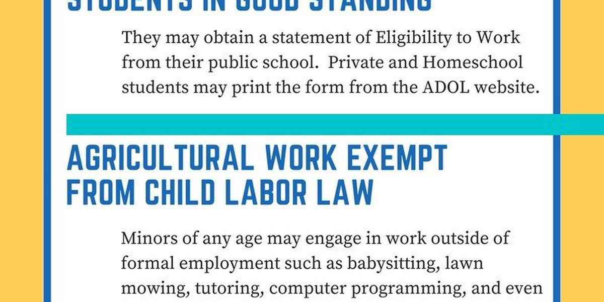 AL Department of Labor has guidelines for hiring young people