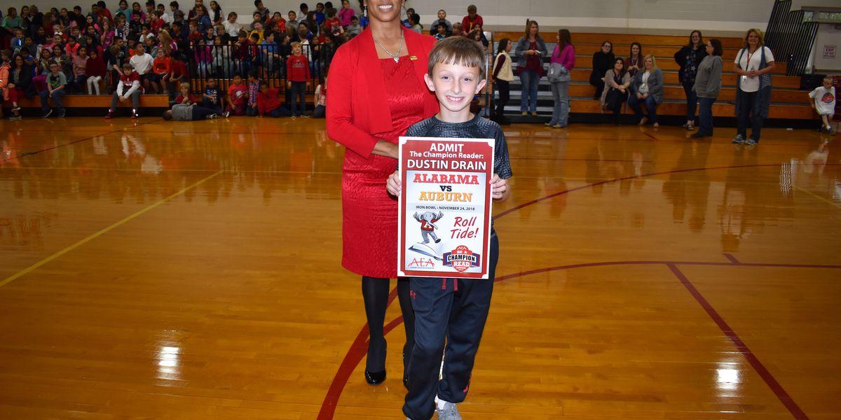 Asbury Elementary reading champ wins trip to Iron Bowl