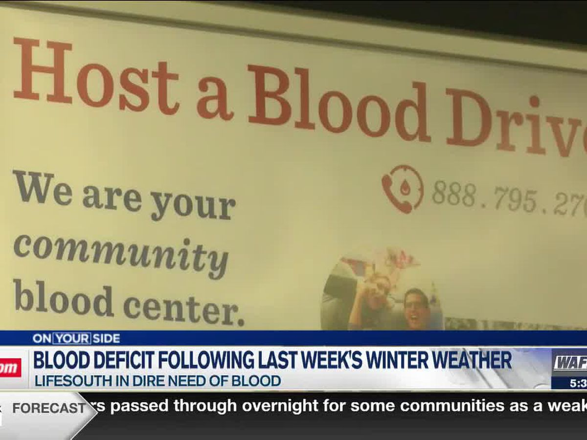 LifeSouth in dire need of blood following last week's winter weather