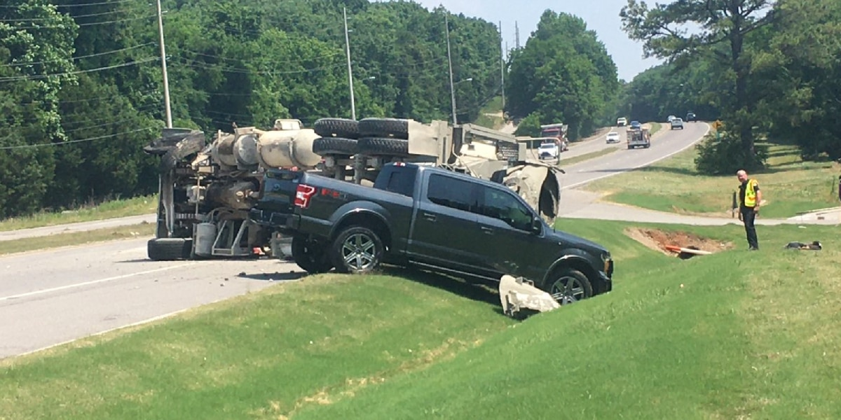 Concrete truck rolls into another vehicle following tire blowout