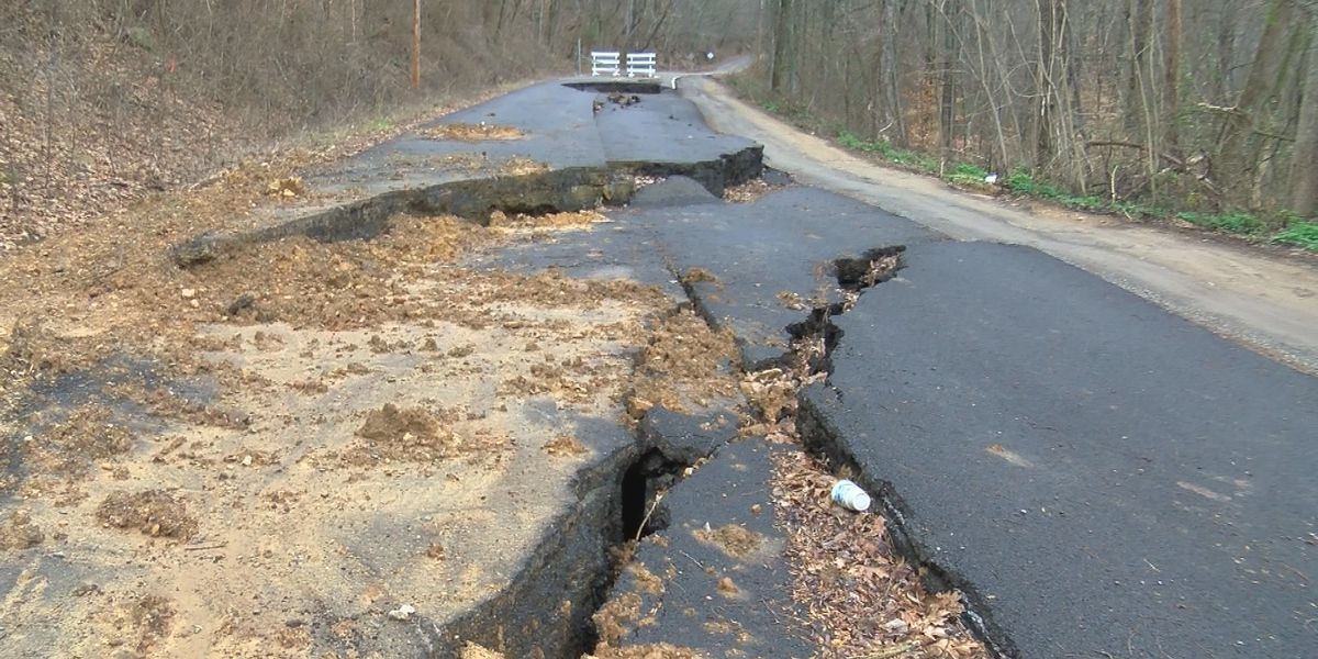 Jackson County road still buckled, sunken in 1 year later