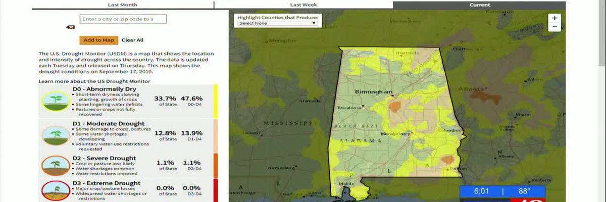 Drought conditions expanding across Alabama; summer burn restriction in place