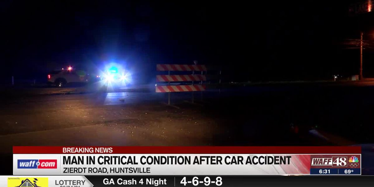 Man in critical condition after early morning crash in Huntsville