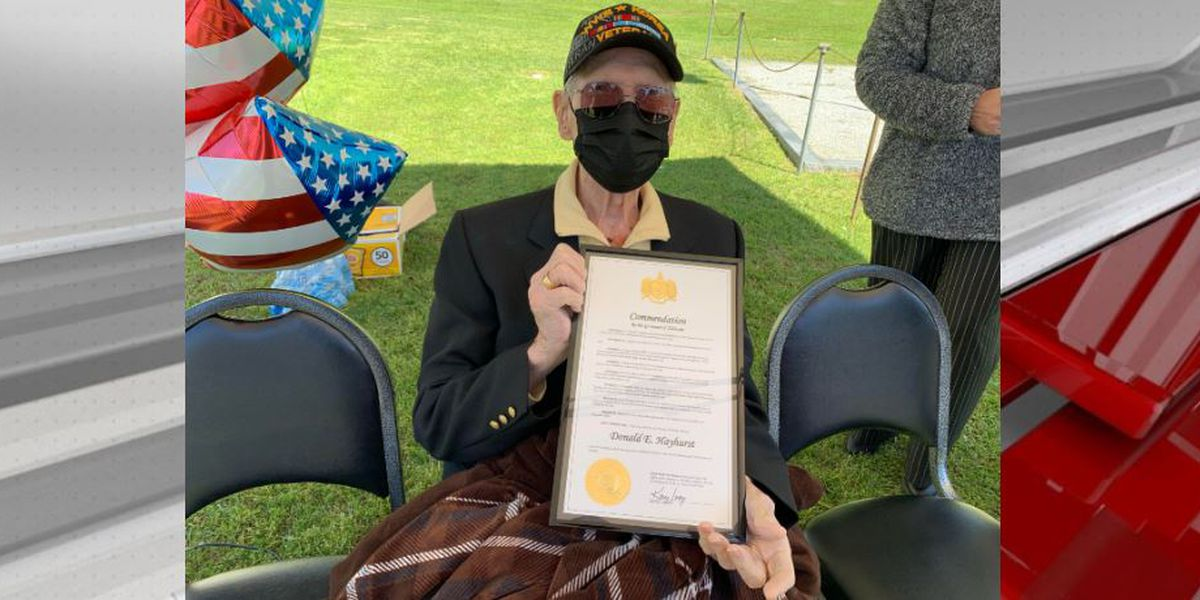 World War II, Korean War Veteran honored with commendation, parade for 97th birthday