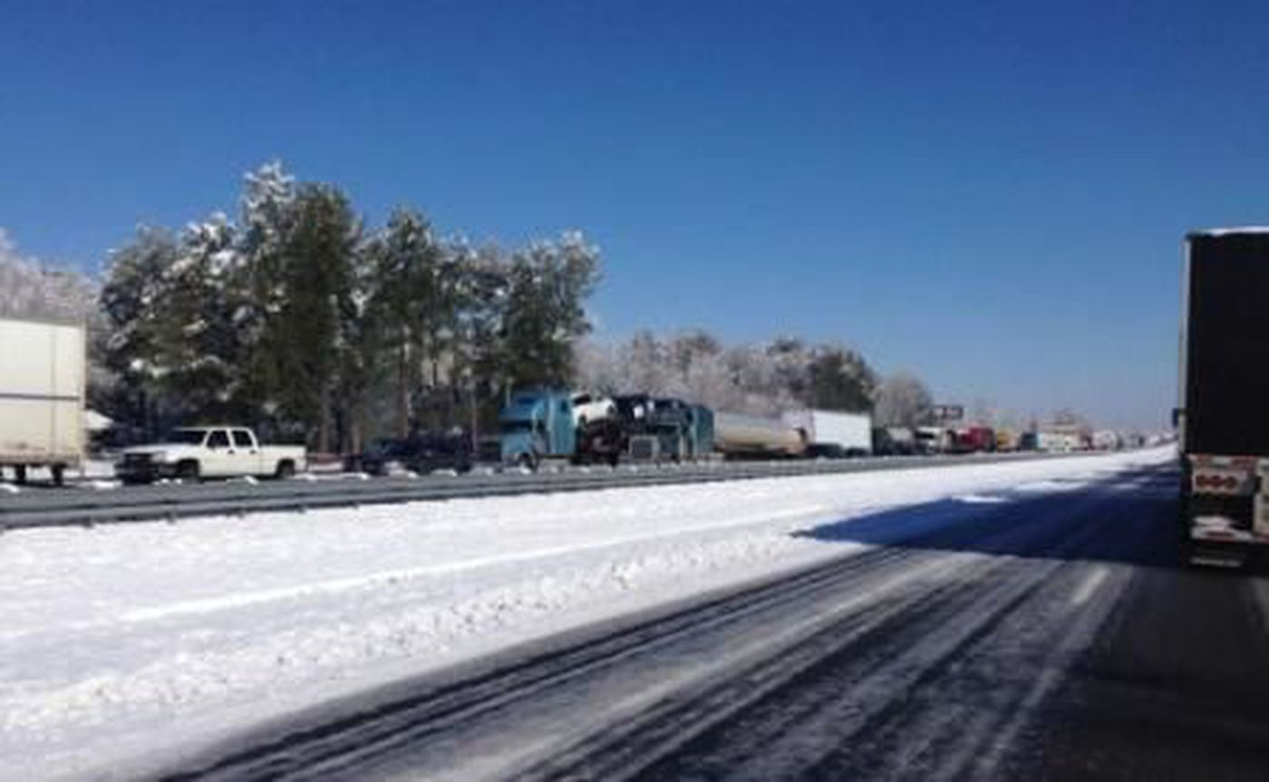 Freezing conditions lead to convoy backup on I-65