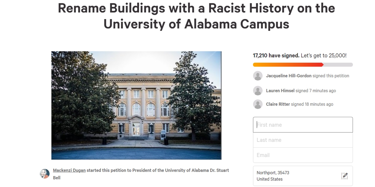Petition started to rename UA buildings with racist history