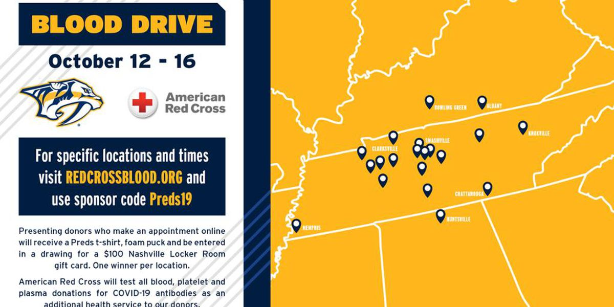 Nashville Predators team up with Red Cross and over 20 organizations to host largest multi-state fall blood drive