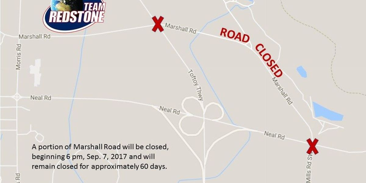 Redstone Arsenal road closing 2 months for construction