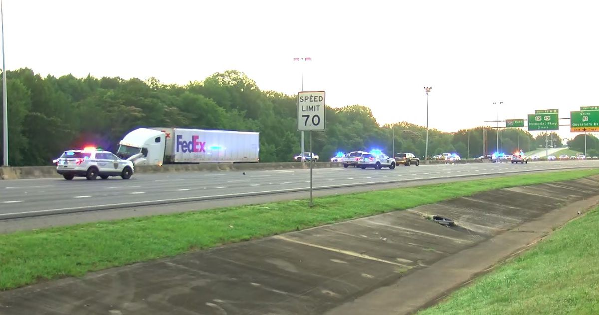 Lanes reopened after vehicle strikes a 18-wheeler on 565