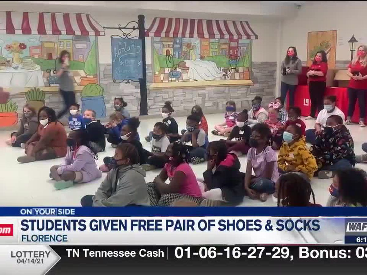 Listerhill Foundation provides each student a pair of free shoes at Harlan Elementary