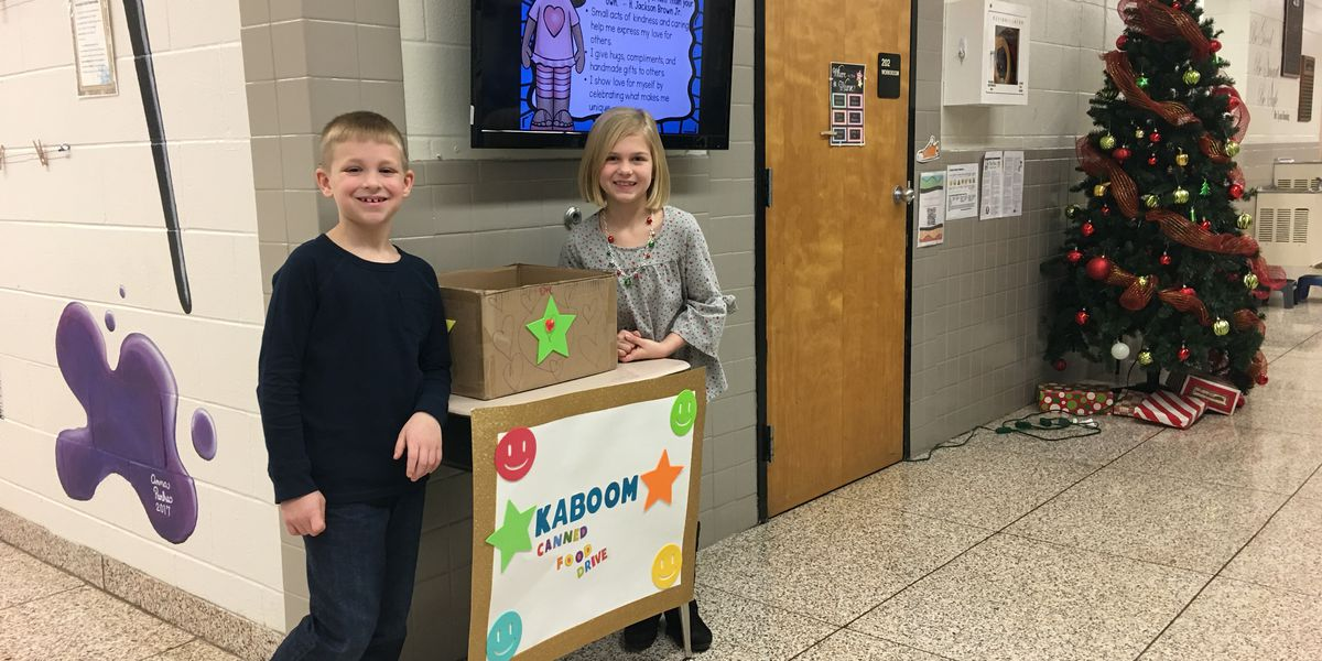 2nd graders collect nearly 400 cans during Christmas food drive