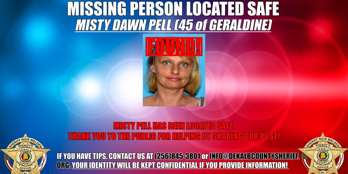 Authorities locate missing Geraldine woman