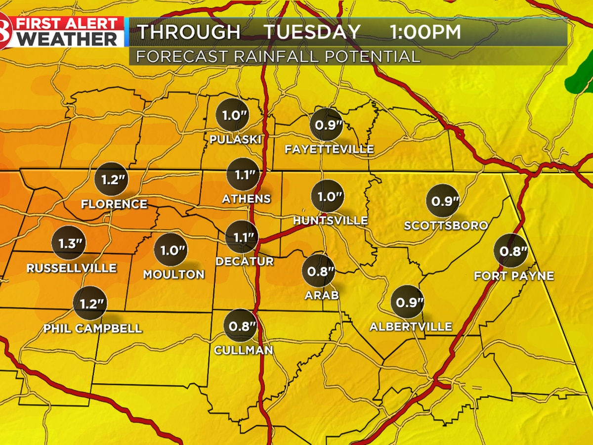 Overnight rain to become widespread Tuesday