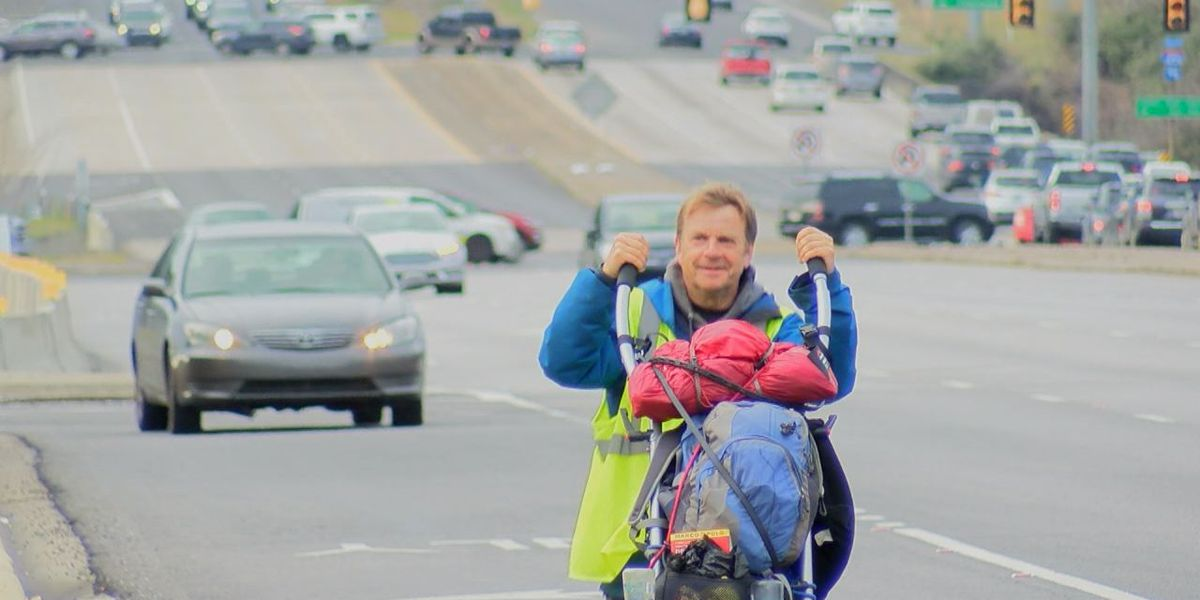 British man stops in Birmingham on his walk around the world for charities