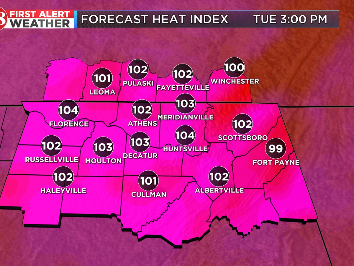 Heat index over 100 the next few days