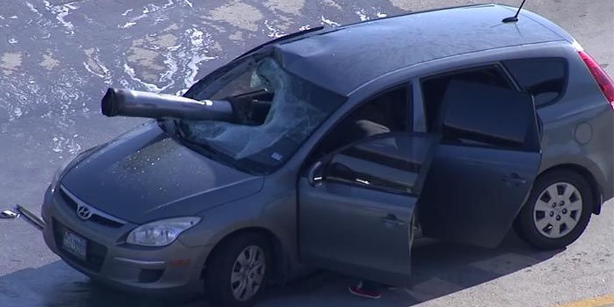Freak accident leaves car impaled in Texas
