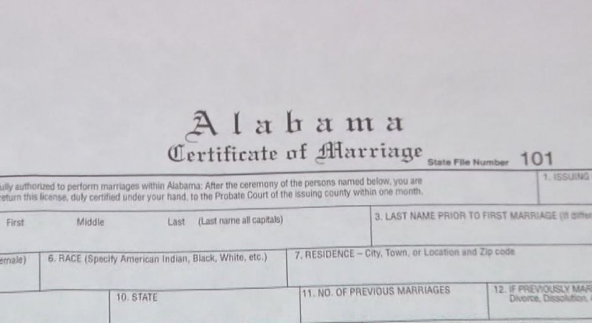 Alabama says 'I don't' to issuing marriage licenses
