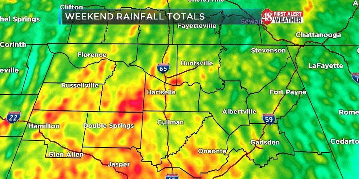 Sizable rainfall reported across the TN Valley after weekend storms