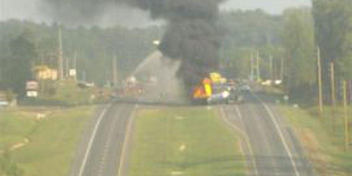 18-wheeler fire snarls traffic for hours