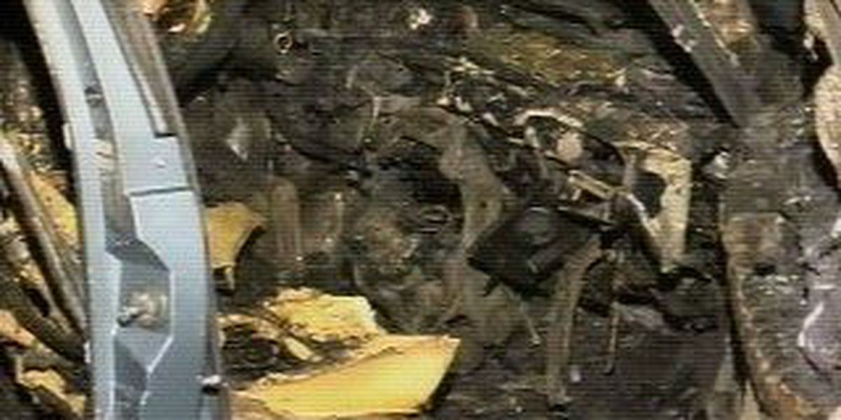Two people hurt in fiery car accident
